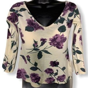 MaxMara V-Neck Floral Lightweight Pattern Top